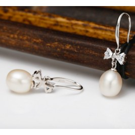 Freshwater Pearl Earrings On Sterling Silver Hooks With Bow