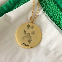 Actual Paw Print Round Pendant Necklace 925 Sterling Silver