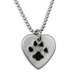 Custom Pet Paw Prints Engraved Heart Necklace In Sterling Silver