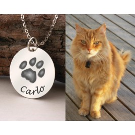 Actual Pet Paw Print Pendant Necklace 925 Sterling Silver