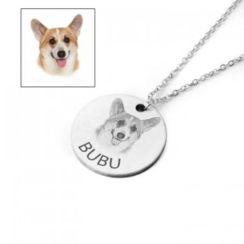 Pet Dog Cat Photo Engraved Round Pendant Necklace