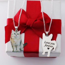 Personalised Custom Pet Photo Necklace In Sterling Silver