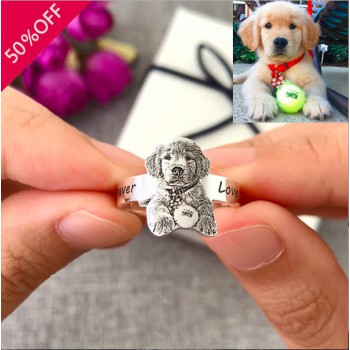 Pet Photo Engraved Ring With Free Sterling Silver Necklace · Pet Memorial Ring · Personalized Pet Remembrance