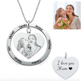 Sterling Silver Custom Photo Engraved Necklace Heart In Round Pendant