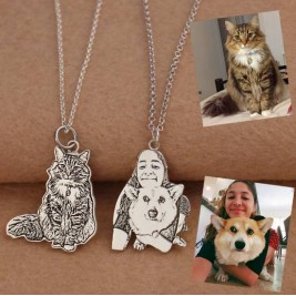 Bespoke Photo Engraved Necklace Sterling Silver