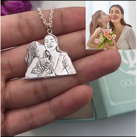 Custom Photo Engraved Necklace Sterling Silver