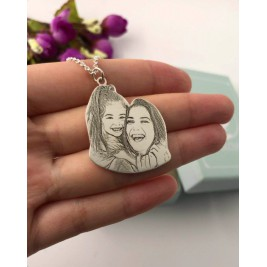 Custom Photo Engraving Necklace Sterling Silver