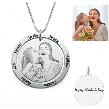 Sterling Silver Custom Photo Engraved Necklace Round Washer Pendant