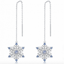 Sterling Silver Drop Earrings Snow Flake  Long Earrings