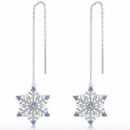 Sterling Silver Drop Earrings Snow Flake  Long Earrings