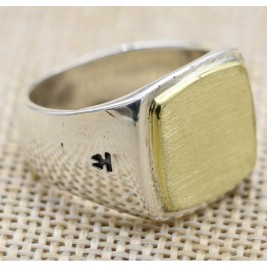 Solid Sterling Silver Square Signet Ring With Gold Brushed Surface Effect