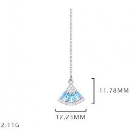 Tassel Fan Drop Earrings In Sterling Silver Skirt Long Earrings