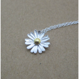 Sterling Silver Dainty Sunflower Neckalce Unique Sunflower Jewellery