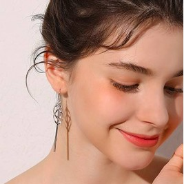 Tassel Earrings With Geo Pendants Long Drop Earrings Sterling Silver