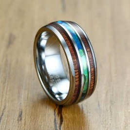 Tungsten Koa Wood Barrel Style Eternity Ring