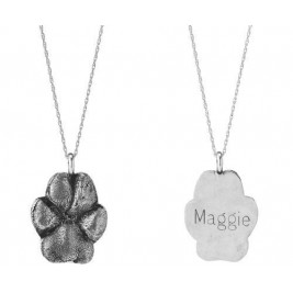 Custom Pet Necklace Pet Paw Prints Engraved Pendants In Sterling Silver