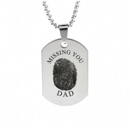 Inked Fingerprint Dog Tag Necklace
