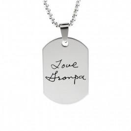 Inked Fingerprint Dog Tag Necklace
