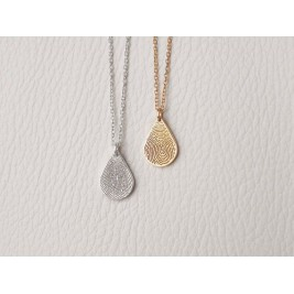 925 Sterling Silver FingerPrint TearDrop Pendant