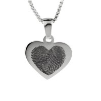 925 Sterling Silver FingerPrint Cascade Heart Pendant