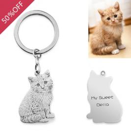 Personalized Pet Keyring, Personalized Photo Keychain, Engrave Photo Keepsake, Cat and Dog Keyring, Photo Pendant,Pet Memorial Keyring