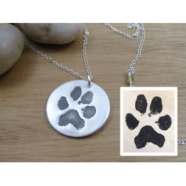 Actual Pet Paw Print Pendant Necklace 925 Sterling Silver