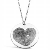 Large FingerPrint Circle Pendant Heart Finger Print Engraved Jewellery