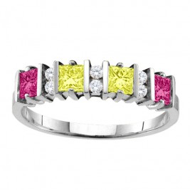 Echo  2-6 Princess Cut Stones Ring With Accents
