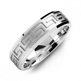 Greek Key Eternity Grooved Men's Ring