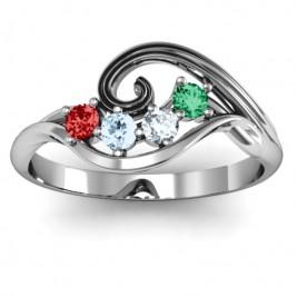 3 - 8 Stone Swirl Ring