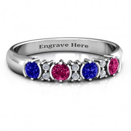 3-6 Stone Circular Half Bezel and Twin Accent Ring