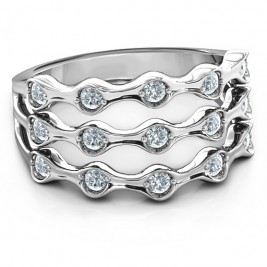 3 Row Fashion Wave Ring