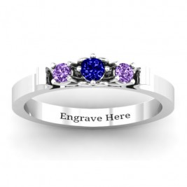 3-Stone Ring with Heart Gallery