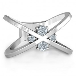 4 Stone Crossover Ring