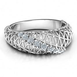 9 Stone Geometric Mesh Ring