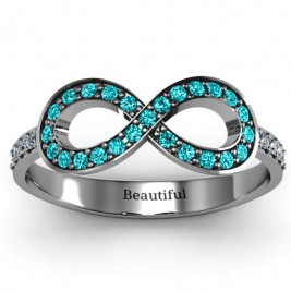 Accented Infinity Ring with Shoulder Stones