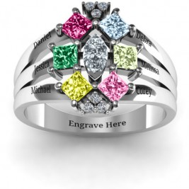 Arachna Centre Marquise and Princess Ring with Accents