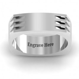 Areo Grooved Square-shaped Men's Ring