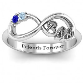 BFF Friendship Infinity Ring with 2 - 7 Stones