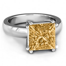Basket Set Princess Cut Solitaire Ring