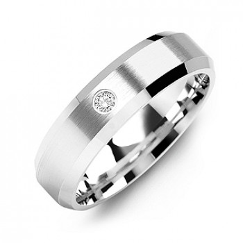 Beveled-Edge Brushed Men's Gemstone Ring