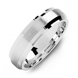 Beveled Edge Men's Ring with Brushed Centre