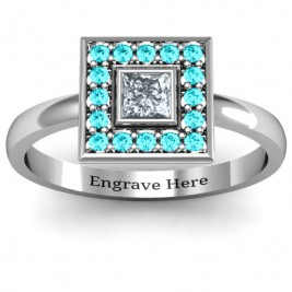 Bezel Princess Stone with Channel Accents Ring