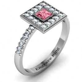 Bezel Princess Stone with Channel Accents in the Band Ring