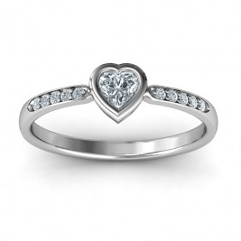 Bezel Set Love Ring with Accents