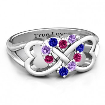 Birthstone Triple Heart Infinity Ring