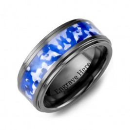 Blue Marine Camouflage Ceramic Wedding Ring
