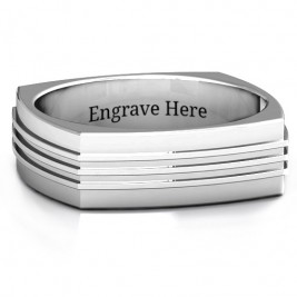 Bridge Grooved Square-shaped Men's Ring