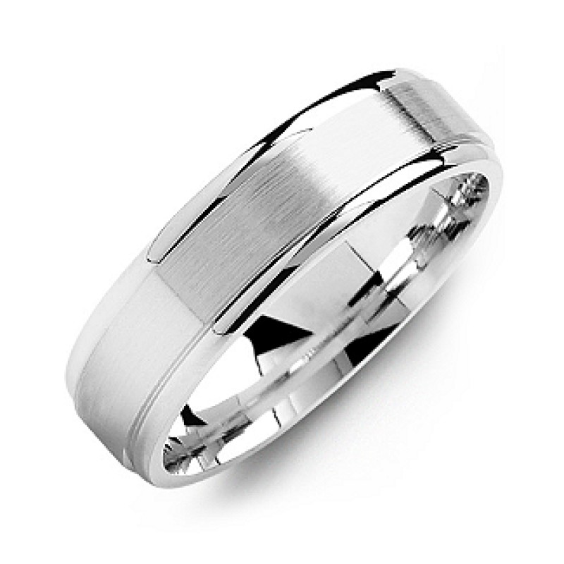 047d03867b13b Brushed Centre Men's Ring with Polished Edges