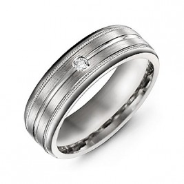 Brushed Layer Men's Ring with Milgrain Edges